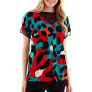 Worthington® Short-Sleeve Fabric-Mix Tunic Top - Tall