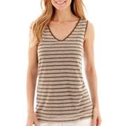 Liz Claiborne® Sleeveless Striped Tank Top