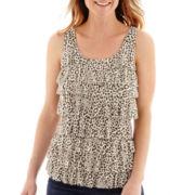 Liz Claiborne® Leopard Print Tiered Tank Top