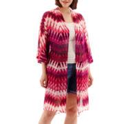 a.n.a® 3/4-Sleeve Woven Kimono Duster - Plus