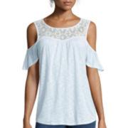 a.n.a® Lace-Front Knit Cold-Shoulder Shirt