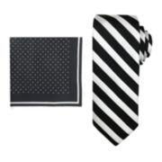 Steve Harvey® Striped Tie and Pocket Square Set
