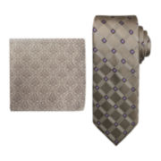 Steve Harvey® Grid Tie and Pocket Square Set