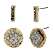 Bleu™ Crystal Gold-Tone Duo Stud Earrings