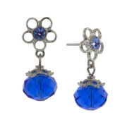 1928® Jewelry Silver-Tone Blue Flower Drop Earrings