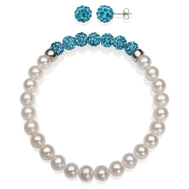 jcpenney.com | 6-7Mm Cultured Freshwater Pearl And 6Mm Turquoise Lab Created Crystal Bead Sterling Silver Earring And Bracelet Set