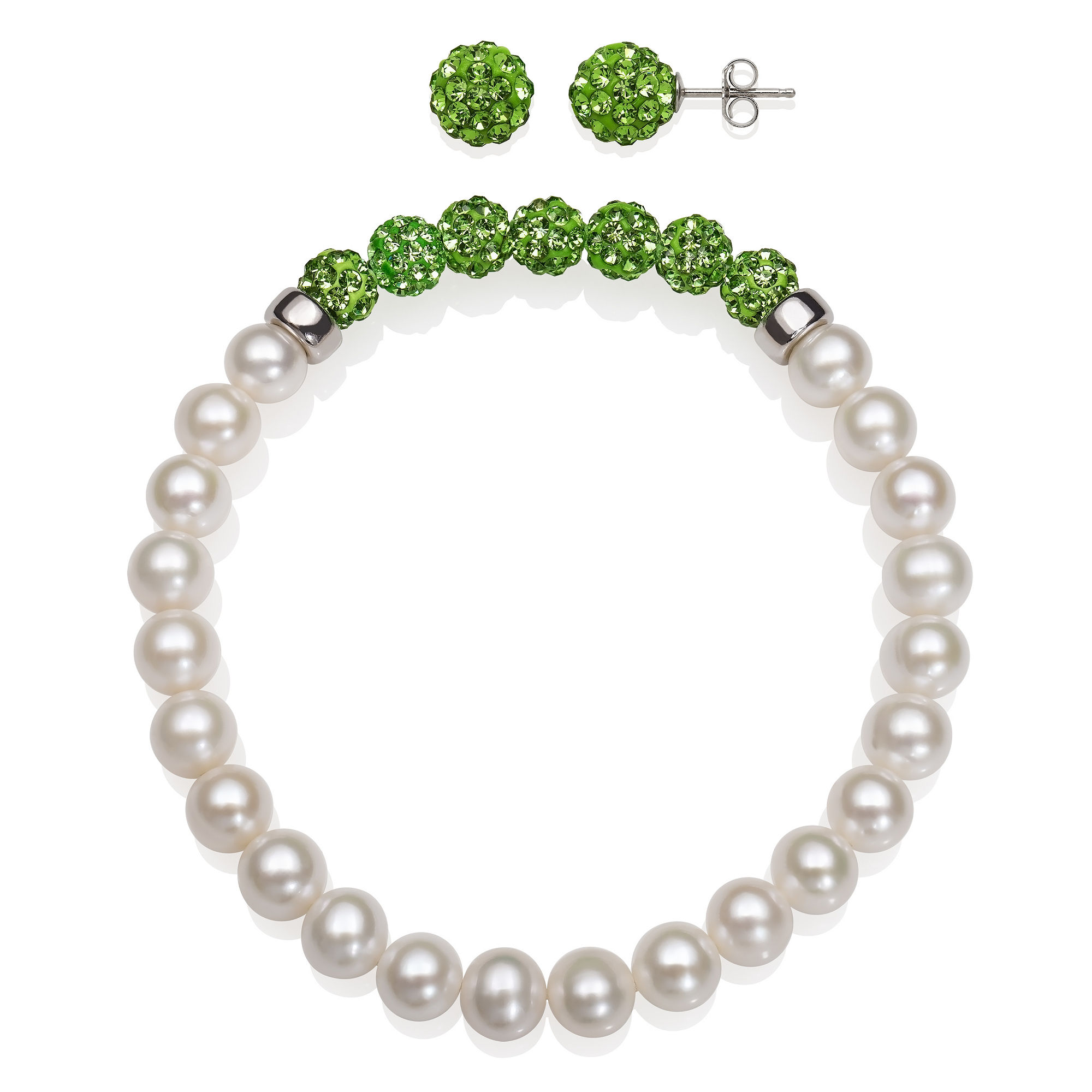 6-7Mm Cultured Freshwater Pearl And 6Mm Green Lab Created Crystal Bead Sterling Silver Earring And Bracelet Set