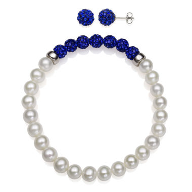 jcpenney.com | 6-7Mm Cultured Freshwater Pearl And 6Mm Blue Lab Created Crystal Bead Sterling Silver Earring And Bracelet Set