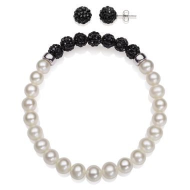 jcpenney.com | 6-7Mm Cultured Freshwater Pearl And 6Mm Black Lab Created Crystal Bead Sterling Silver Earring And Bracelet Set