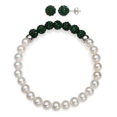 jcpenney.com | 6-7Mm Cultured Freshwater Pearl And 6Mm Green Lab Created Crystal Bead Sterling Silver Earring And Bracelet Set