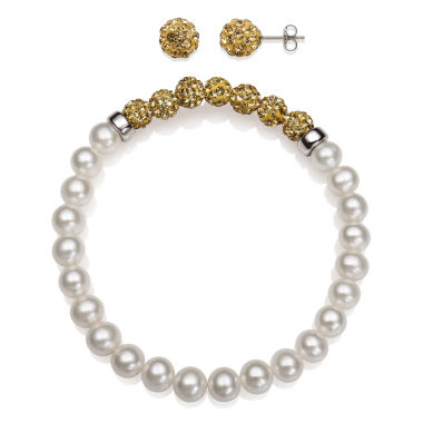 jcpenney.com | 6-7Mm Cultured Freshwater Pearl And 6Mm Brown Lab Created Crystal Bead Sterling Silver Earring And Bracelet Set