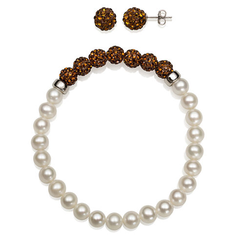 6-7Mm Cultured Freshwater Pearl And 6Mm Brown Lab Created Crystal Bead Sterling Silver Earring And Bracelet Set 1