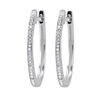 jcpenney.com | 1/10 Diamond 14K White Gold Hoop Earring