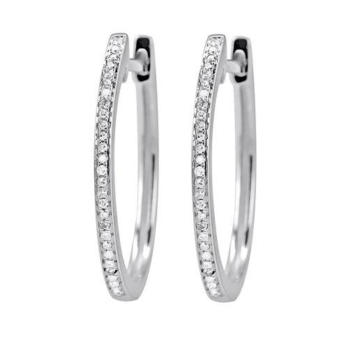 1/10 Diamond 14K White Gold Hoop Earring