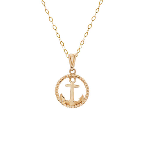 Infinite Gold™ 14K Yellow Gold Circle Anchor Pendant Necklace