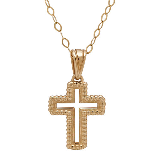 Infinite Gold™ 14K Yellow Gold Open Cross Pendant Necklace