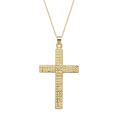 jcpenney.com | Infinite Gold™ 14K Yellow Gold Diamond-Cut Cross Pendant Necklace