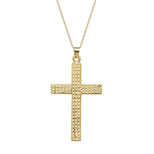 Infinite Gold™ 14K Yellow Gold Diamond-Cut Cross Pendant Necklace