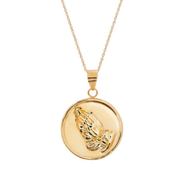 jcpenney.com | Infinite Gold™ 14K Yellow Gold Praying Hands Disc Pendant Necklace