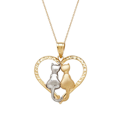 Infinite Gold™ 14K Two-Tone Gold Cats In Heart Pendant Necklace
