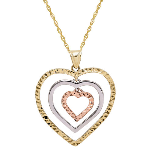 Infinite Gold™ 14K Gold Tri-Color Graduated Open Hearts Pendant Necklace