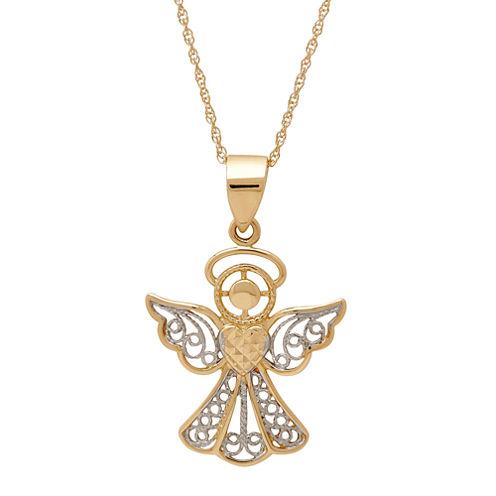 Infinite Gold™ 14K Yellow Gold Diamond-Cut Angel Pendant Necklace