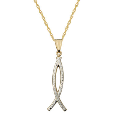 jcpenney.com | Infinite Gold™ 14K Gold Two-Tone Ichthys Pendant Necklace