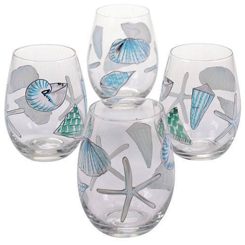 Certified International Sea Finds Set of 4 Hand-Painted Stemless Wine Glasses