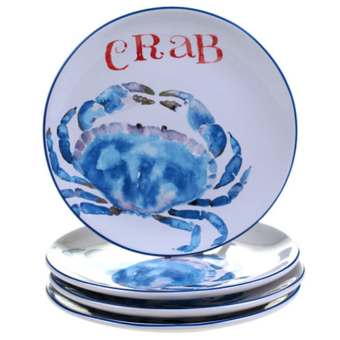 Certified International Beach House Kitchen Set of 4 Crab Dessert Plates