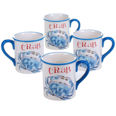 jcpenney.com | Certified International Beach House Kitchen Set of 4 Crab Mugs