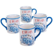 Certified International Beach House Kitchen Set of 4 Crab Mugs
