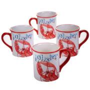 Certified International Beach House Kitchen Set of 4 Lobster Mugs