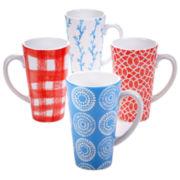 Certified International Beach House Kitchen Set of 4 Latte Mugs