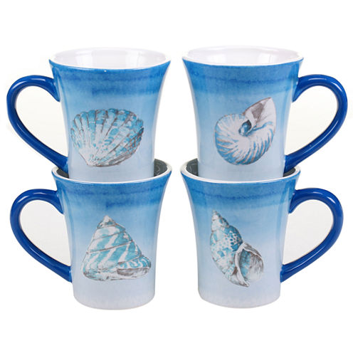 Certified International Sea Finds Set of 4 Mugs