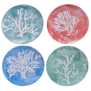 jcpenney.com | Certified International Water Coral Set Of 4 Dessert Plates