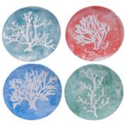 Certified International Water Coral Set Of 4 Dessert Plates