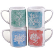 Certified International Water Coral Set Of 4 Mugs