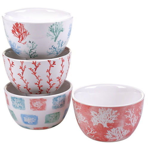 Certified International Water Coral Set Of 4 Ice Cream Bowls
