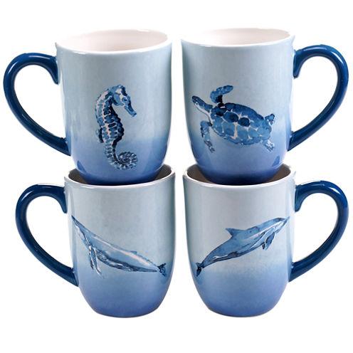 Certified International Sea Life Set of 4 Mugs