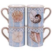Certified International Spa Shells Set of 4 Mugs