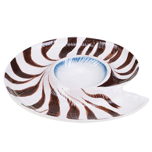 Certified International Spa Shells Chip & Dip Server