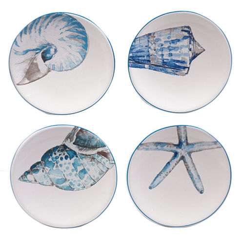 Certified International Sea Finds Set of 4 Canapé Plates