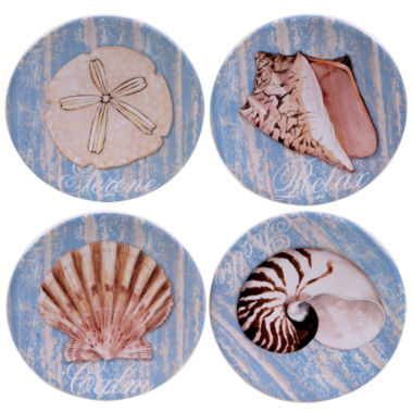 jcpenney.com | Certified International Spa Shells Set Of 4 Canape Plates