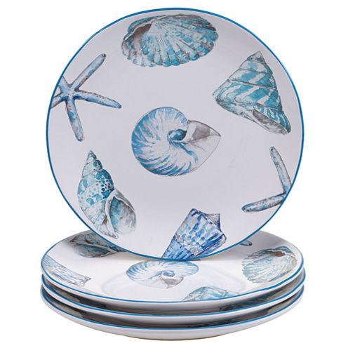 Certified International Sea Finds Set of 4 Dinner Plates
