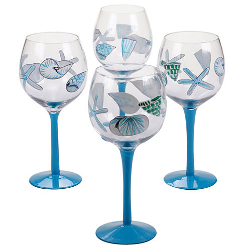 Certified International Sea Finds Set of 4 Hand-Painted Wine Glasses