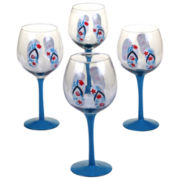 Certified International In The Moment Set of 4 Hand-Painted Wine Glasses