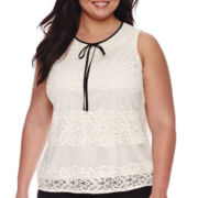 Worthington® Sleeveless Tie-Neck Lace Blouse - Plus
