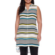Worthington® Sleeveless Extra-Long Woven Tunic Blouse - Plus