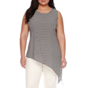 Worthington® Sleeveless Asymmetrical Blouse - Plus