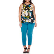 Worthington® Sleeveless Gold-Hardware Double Layer Blouse or Ankle Pants - Plus